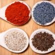 Assortment of spices with milled dried hot pepper, sesame, poppy — Stock Photo #32844241