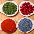 Stock Photo: Spicy hot milled pepper, parsely, red peppercorn and poppy seeds
