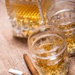 Close up of cigar and whiskey glasses — Stock Photo