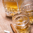 Stock Photo: Close up of cigar and whiskey glasses