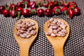 Wooden spoons with bean seeds and red pepper, aromatic ingredients — 图库照片