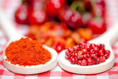 Healthy peppercorns and chili hot peppers for aromatic food — Stock Photo