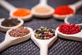 Verschillende soorten van specerijen op houten lepel - detail van zwarte, groene en rode peper zaden — Stockfoto