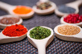 Various kind of spices on wooden spoon - detail of chopped and dried parsley — Stock Photo
