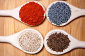 Assortment of spices with milled dried hot pepper, sesame, poppy — Stock Photo