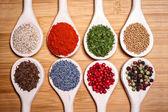 收藏集设置 parsely 的香料与豆类、 豆类、 切碎的豌豆、 扁豆、 罂粟和胡椒 — 图库照片