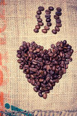 Bio fresh coffee heart made of beans — Stock Photo