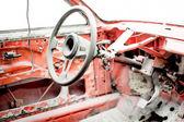 Old car in auto workshop getting restored, vintage car restaurat — Stock Photo