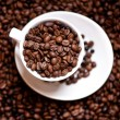 Fresh black columbian coffee in white cup isolated on coffee beans background — Stock Photo