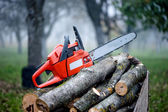 Gasoline powered professional chainsaw on pile of cut wood — Stock Photo