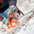 Stock Photo: Woodcutter or lumberjack cutting fire wood in garden during winter against snow background