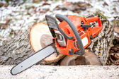 Gasoline powered professional chainsaw on pile of cut wood against winter and snow background — Stock Photo