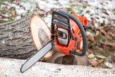 Gasoline powered chainsaw with tools and chopped trees against leaves and winter background — Stock Photo