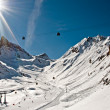 Winter scenic view of European Alps slopes on a glacier mountain — Stock Photo