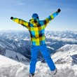 Male wearing ski equipment being excited about climbing on top of European Alps on a sunny winter day — Stock Photo #37076849