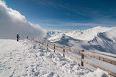 Scenic sunny view of Austrian Alps against blue, clear sky and powder snow everywhere — Stock Photo