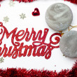 Merry Christmas background with grey snowflake balls and little stars — 图库照片