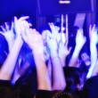 Cheering crowd at concert clapping and shouting — Stok fotoğraf