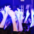 Cheering crowd at concert clapping and shouting — Stock Photo