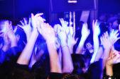Alkışlar ve bağırarak konserinde Kalabalığı eğlendirmekten — Stok fotoğraf