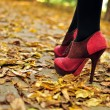 Woman feet with pink fashion shoes on a late autumn shooting — Stock Photo