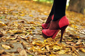 Woman feet with pink fashion shoes on a late autumn shooting — 图库照片
