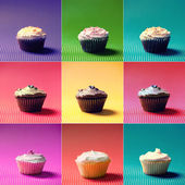 Colorful Collection or collage of holiday muffins and cupcakes. Vanilla, chocolate and fruits flavors and diferent fillings and toppings — Stock Photo