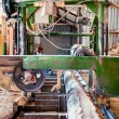 ������, ������: Indusstrial wood production factory bandsaw sawmill being use to cut a cedar log into dimension lumber