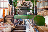 Indusstrial wood production factory - bandsaw sawmill being use to cut a cedar log into dimension lumber — Foto Stock