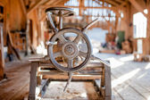 Detail of industrial wood factory, close-up of heavy duty machinery — Stock Photo