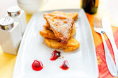 French toast with butter and gem at breakfast — Stock Photo