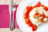 Pork chops with mashed potatoes and spicy tomatoes sauce — Stock Photo