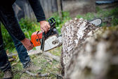 Man with gasoline powered chainsaw cutting fire wood from trees in forest or garden — Stock Photo
