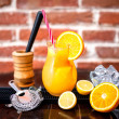 Постер, плакат: Orange lemonade as fresh summer drink nonalcoholic refreshment