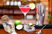 Alcoholic cocktail drink with vodka and triple sec on counter at bar — Stock Photo