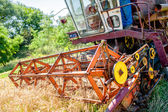 Combine corn and wheat harvester. Agriculture industry on rural crops — Stock Photo