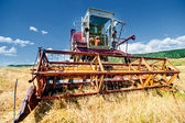 Crop harvesting at th field with professional harverster — Stock Photo