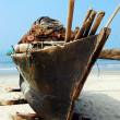 Long tail boat on beach,Goa — Stock Photo