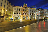 Lisbon Rossio train station at night — Stock Photo