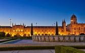 Jeronimos Monastery Lisbon by night — Stock Photo