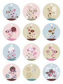 Floral Labels or Tags Set — Stock Vector