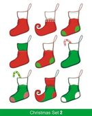 Christmas Stocking Set — Stock Vector