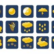 Golden Weather Icons — Vettoriale Stock #13854275