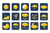 Golden Weather Icons — Stock Vector