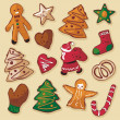 Christmas Gingerbread Cookies Set — Stock Vector