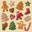 Royalty-Free Stock Vector Image: Christmas Gingerbread Cookies Set