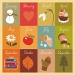 Children's Illustrated Calendar — Vector de stock #16178409