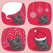 Cute Christmas Cats Set — Stock Vector