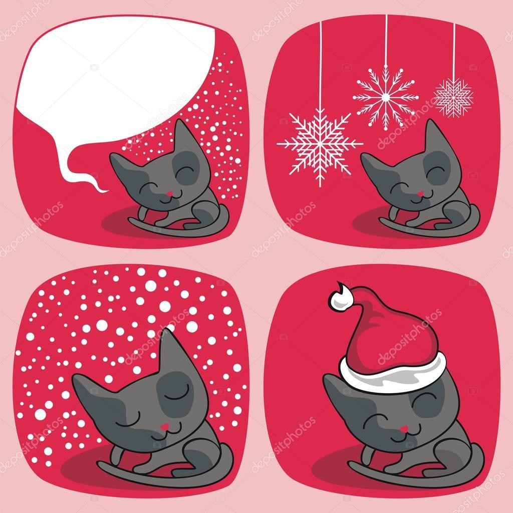 Dibujos animados de Navidad con los gatos lindos y elementos estacionales\u2014 Vector de Yurumi