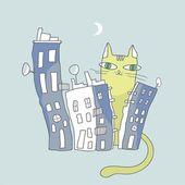 Gato gigante cuidando de condomínios da cidade — Vetorial Stock